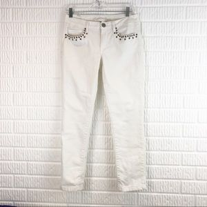 AEO white studded stretch skinny jeans mid rise